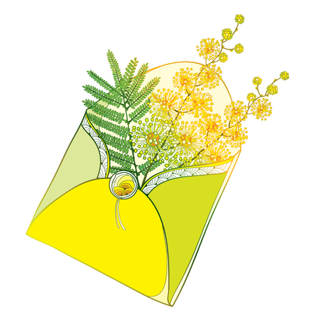 Bouquet with outline flowers and leaf in yellow open craft envelope isolated on white background. Ornate contour Mimosa for greeting spring design.