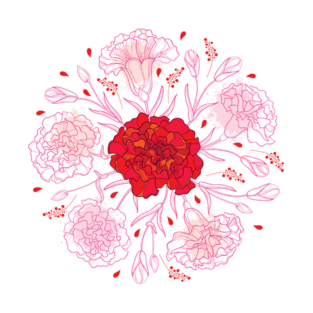 Okrągła kompozycja z konturem goździka lub goździka. Bukiet kwiatów, pączek i liście w kolorze czerwonym i pastelowym różu na białym tle. Ilustracje wektorowe