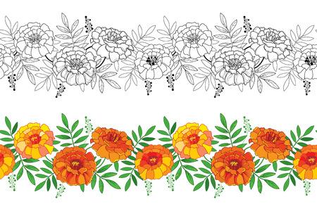 Patrón sin fisuras con contorno flor de caléndula y hojas en naranja y negro sobre fondo blanco.