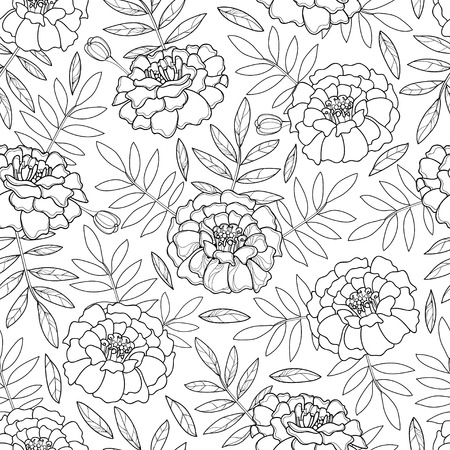 Seamless pattern with outline Marigold flower and leaves in black on the white background. Ilustração
