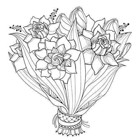 Bride bouquet with outline Gardenia flower, bud and ornate leaf in black isolated on white background. Summer blossom Gardenia in contour style for wedding decoration design or coloring book. Illustration