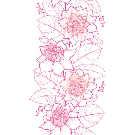Seamless pattern with outline Gardenia in pastel pink color. Ornate flower, bud and leaves on the white background.  Vector illustration. Ilustração
