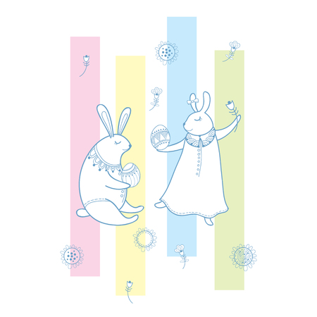 Happy easter greeting with outline rabbit couple traditional happy easter greeting with outline rabbit couple traditional easter symbol and stripes in pastel color m4hsunfo Images