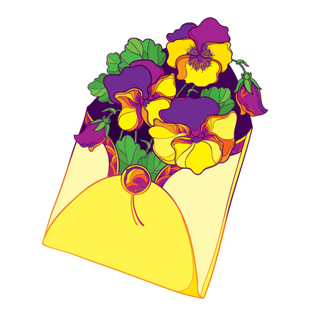 Bouquet with outline yellow and violet Pansy or Heartsease or Viola tricolor flower and leaf in open craft envelope isolated on white background. Contour Pansy flower for summer design.