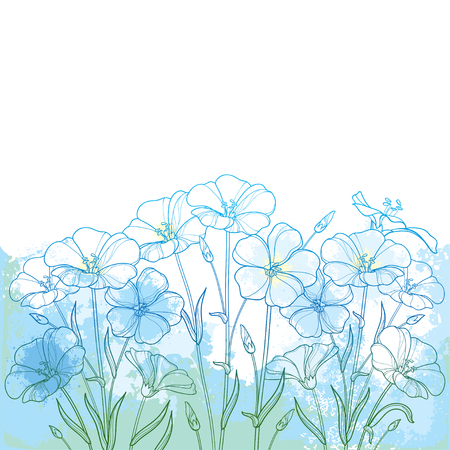 Bouquet with outline Flax plant or Linseed or Linum flower bunch, bud and leaf in blue on the textured pastel background. Ornate contour Flax in pastel blue for summer design. Ilustracja
