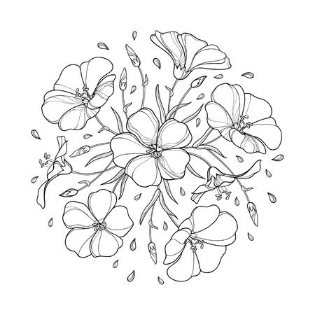 Rond boeket met omlijning Vlasplant of Lijnzaad of Linum. Bloembos, knop en blad in zwart geïsoleerd op een witte achtergrond. Sierlijke vlas in contourstijl voor zomerontwerp en kleurboek.