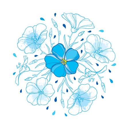 Round bouquet with outline Flax plant or Linseed or Linum flower, bud and leaf in pastel blue isolated on white background. Ornate contour Flax bunch for summer design.