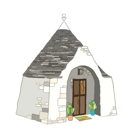 Overzichtstekening van Trulli of Trullo-huis met rond kegelvormig dak in pastelkleuren die op witte achtergrond worden geïsoleerd. Sierlijke traditionele Trulli van Alberobello in contourstijl. Vector Illustratie