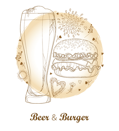 Outline cheeseburger or burger with cheese and glass with foam lager beer isolated on pastel beige colored background. Fast food drawing in contour style for brewery, pub, food menu design.