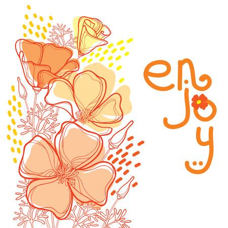 Corner bouquet of outline orange California poppy flower or California sunlight or Eschscholzia, leaf and bud isolated on white background. Ornate contour poppies for enjoying summer design. Illustration