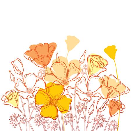 Blumenstrauß mit Umriss orange kalifornischer Mohnblume oder kalifornischem Sonnenlicht oder Eschscholzia, Blatt und Knospe lokalisiert auf weißem Hintergrund. Verzierte Konturmohnblumen zum Genießen des Sommerdesigns.