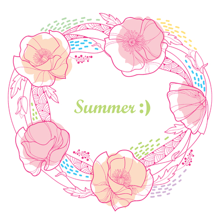 Round frame with outline Poppy flower bunch, bud, leaves and stripes in pastel pink and blue colored isolated on white background. Ornate contour poppies for funny summer design. Illustration