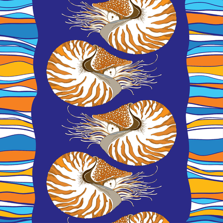 Seamless pattern with Nautilus Pompilius or chambered nautilus in ornate shell on the blue striped background. Marine background in contour style for summer design.