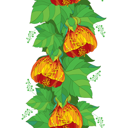 Seamless pattern with outline orange Abutilon or Indian mallow flower and ornate green leaf on the white background. Abutilon for summer design. Ilustracja