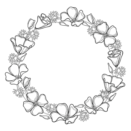 Round wreath of outline California poppy flower or California sunlight or Eschscholzia, leaf and bud in black isolated on white. Contour ornate poppy bunch for summer design or coloring book.