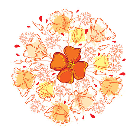 Round bouquet with outline orange California poppy flower or California sunlight or Eschscholzia, leaf and bud isolated on white background. Ornate contour poppies for enjoying summer design.