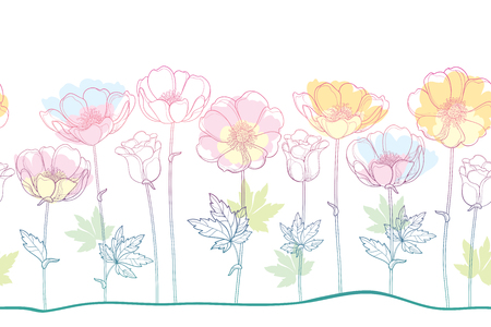 Seamless pattern of outline Anemone flower or Windflower, bud and leaf in pastel pink, orange and blue color on the white background. Ornate contour Anemones for spring or summer design.