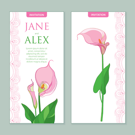 Wedding invitation with outline Calla lily flower or Zantedeschia in pastel pink colors. Vertical composition in contour style with ornate calla and decorative lace for wedding design.