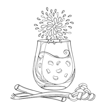 Outline transparency glass of Rhubarb or Rheum lemonade in black isolated on white background. Contour cut and whole stalk of Rhubarb for fresh food design or coloring book.