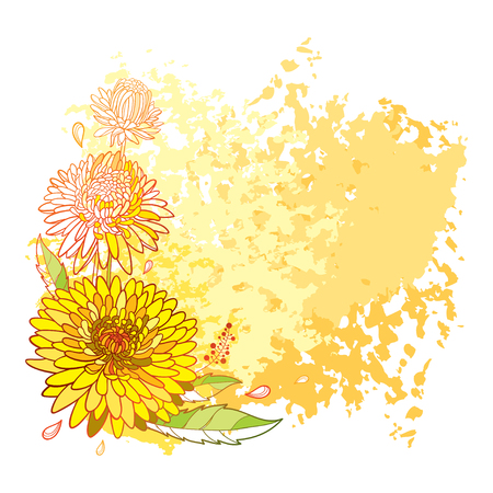 The background is textured. Contour blooming flower