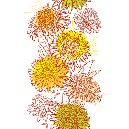 Vertical seamless pattern with outline Aster flower, bud and leaf in pastel orange and red on the white background. Ornate contour Aster for summer or autumn design. Ilustrace