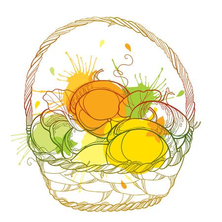 Wicker basket. Thanksgiving day, autumn design or Halloween. Illustration
