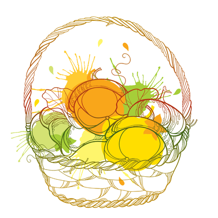 Wicker basket. Thanksgiving day, autumn design or Halloween. Illustration