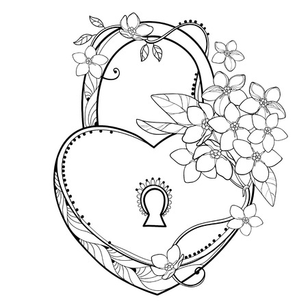 Padlock heart on white background. Forget me me? Illustration