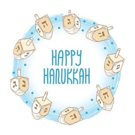 Greeting card with outline with handwriting on white background. Ornate contour Chanukah dreidel for Jewish holiday design.
