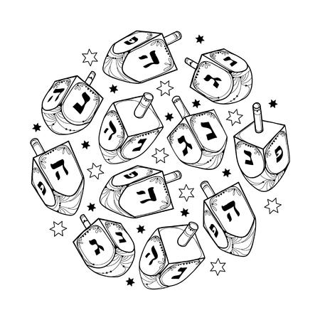 Set con contorno Hanukkah dreidel o sevivon con contorno ebraico Chanukah ornato per il design delle feste ebraiche o libro da colorare. Vettoriali
