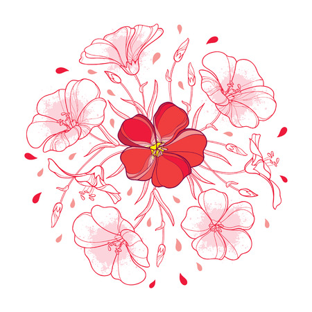 Red flower pink isolated on white background. Ornate contour Flax bunch for summer design.