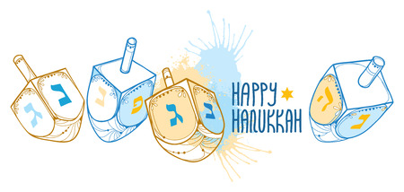 Greeting card with outline with handwriting on white background. Ornate contour Chanukah dreidel for Jewish holiday design Illustration