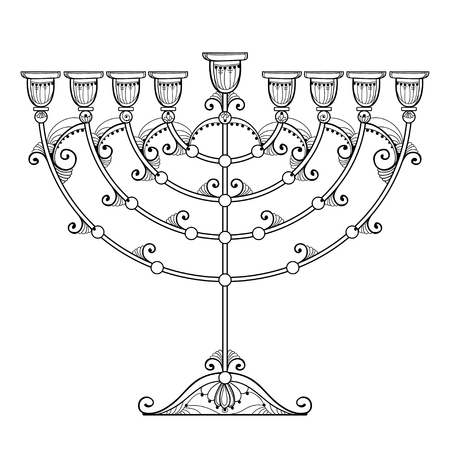 Drawing of outline Hanukkah menorah or Chanukiah candelabrum in black isolated on white background. Ornate contour Chanukah menorah for Jewish holiday design and coloring book.