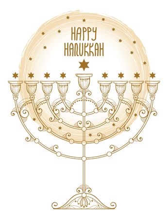 Greeting card with outline Hanukkah menorah or Chanukiah candelabrum in pastel beige isolated on white background. Ornate contour Chanukah menorah for Jewish holiday design. Illustration