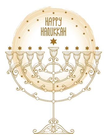 Greeting card with outline Hanukkah menorah or Chanukiah candelabrum in pastel beige isolated on white background. Ornate contour Chanukah menorah for Jewish holiday design. Illustration