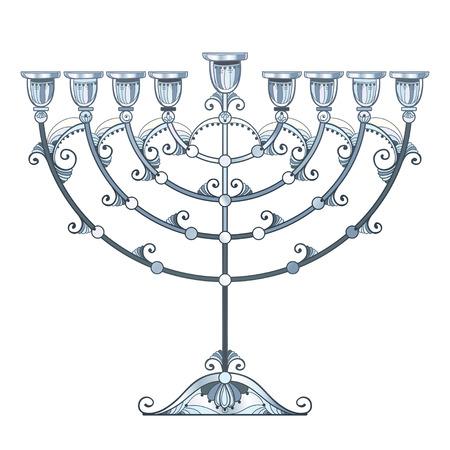 Drawing of outline Hanukkah menorah or Chanukiah candelabrum in pastel Ornate contour Chanukah menorah for Jewish holiday design.