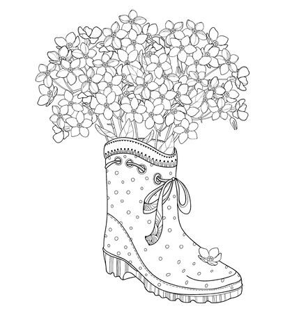 It is a bouquet of flowers on a white background. Spring coloring book.