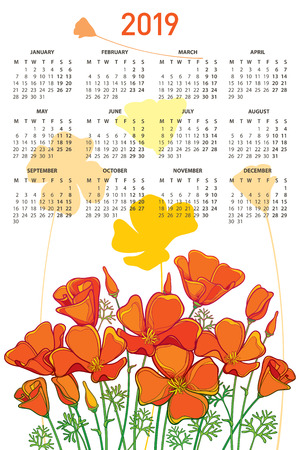 California poppy flower or Eschscholzia, bud and leaf. Week starts from Monday, English. Calendar design with ornate floral.