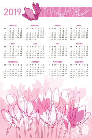 Vertical wall calendar of 2019 years Cyclamen or Alpine violet Week starts from Monday, English. Calendar design with ornate floral.