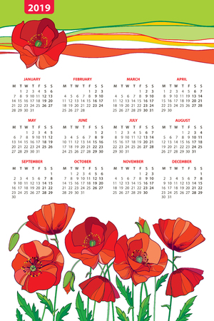 Poppy flower, bud and ornate green leaves. Week starts from Monday, English. Calendar design with contour floral.