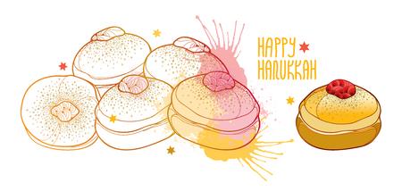 Hanukkah sufganiyah or sufganiyot or donut in pastel card. Contour jelly donut for Jewish Hanuka design. Illustration