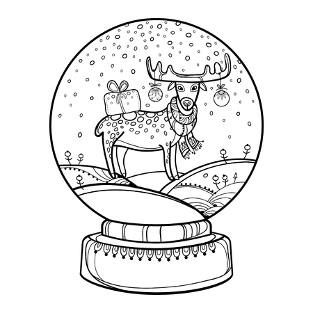 Outline snowglobe with deer and white background. Chinese New Year symbol of 2019. Contour decor for winter design or coloring book.