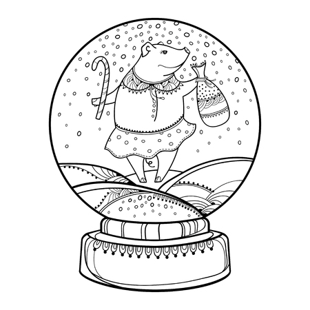 Outline snowglobe with pig and white background. Chinese New Year symbol of 2019. Contour decor for winter design or coloring book.
