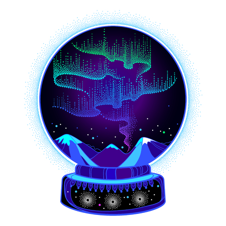 Dotted light globe in the snow globe. Arrow space or galaxy design.