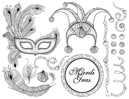 Set with outline cap, black veneer mask, black peacock feather Mardi Gras masquerade design in contour style for coloring book. Illustration