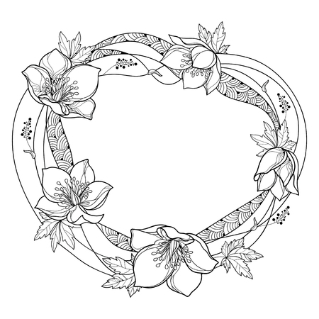 Round frame with outline Helleborus isolated. Ornate flower bunch in contour for spring coloring page.