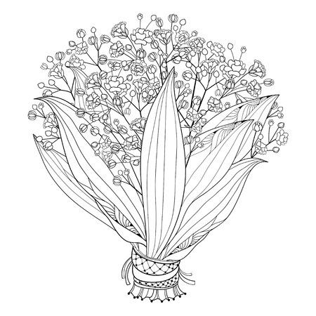 Bouquet de mariée de contour Gypsophile ou Gypsophile.