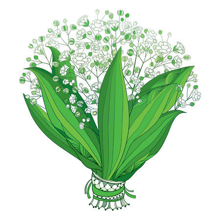 Bride bouquet of outline Gypsophila or Baby's breath. Illustration