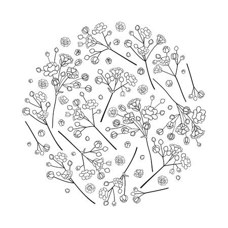 봄 디자인 또는 색칠하기 책을 위한 컨투어 Gypsophila.