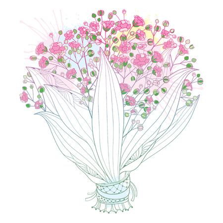 Bouquet de mariée rose de contour Gypsophile ou Gypsophile.